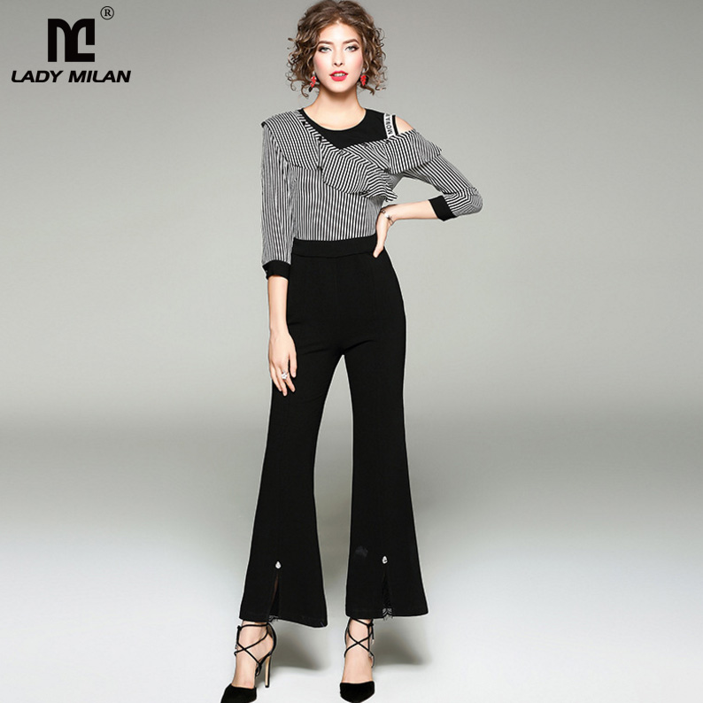 New Arrival 2018 Womens O Neck 3/4 Sleeves Ruffles Letters Printed Patchwork High Street Fashion Long Jumpsuits&Rompers