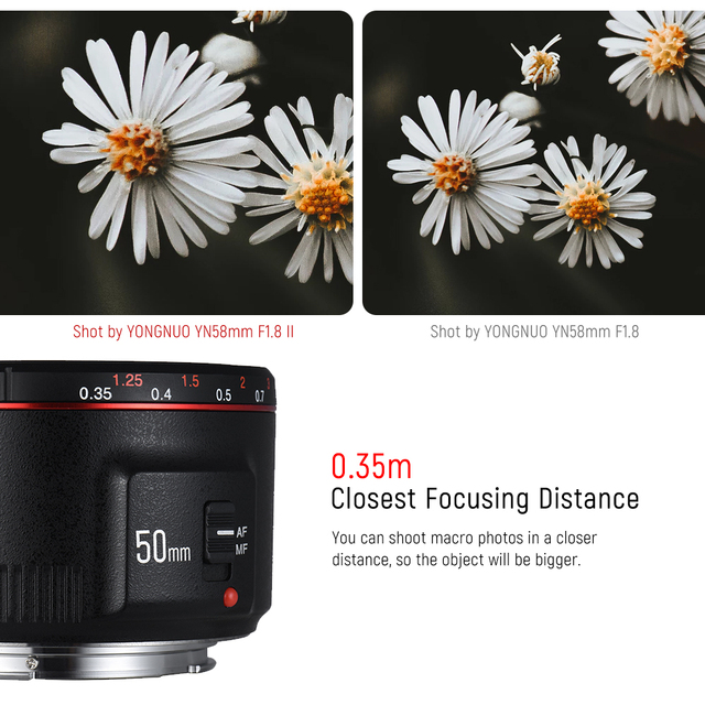2018 YONGNUO YN50mm F1.8 II Fixed Lens for Canon AF/MF Large Aperture Metal Mount Focus 50mm lens for Canon 600D 1300D DSLR