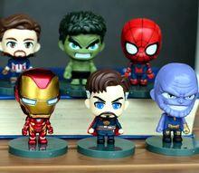 6,5 cm juguetes de vengadores hierro hombre Capitan America Hulk arana Pantera Negra Thanos conjunto 6 cifras paque