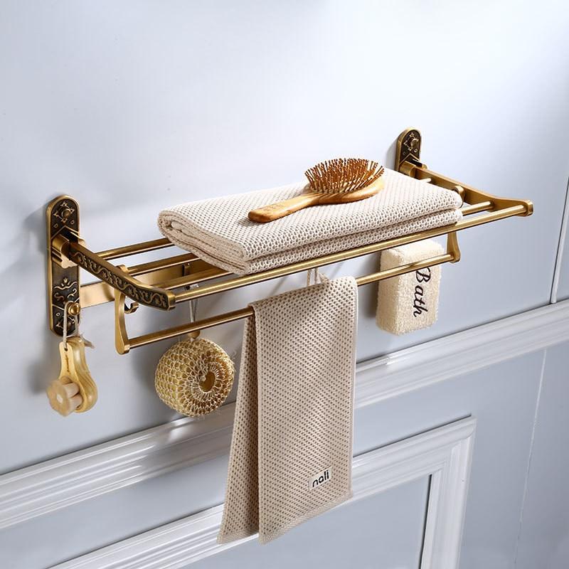 Bathroom Towel Racks Foldable Aluminum Antique Carved Towel Holder Wall Mounted Nail 60cm Bathroom Storage Rail