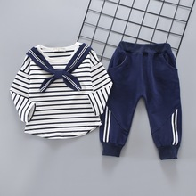 Sailor Style Striped Pattern Siblings Matching Baby Top and Pants Set