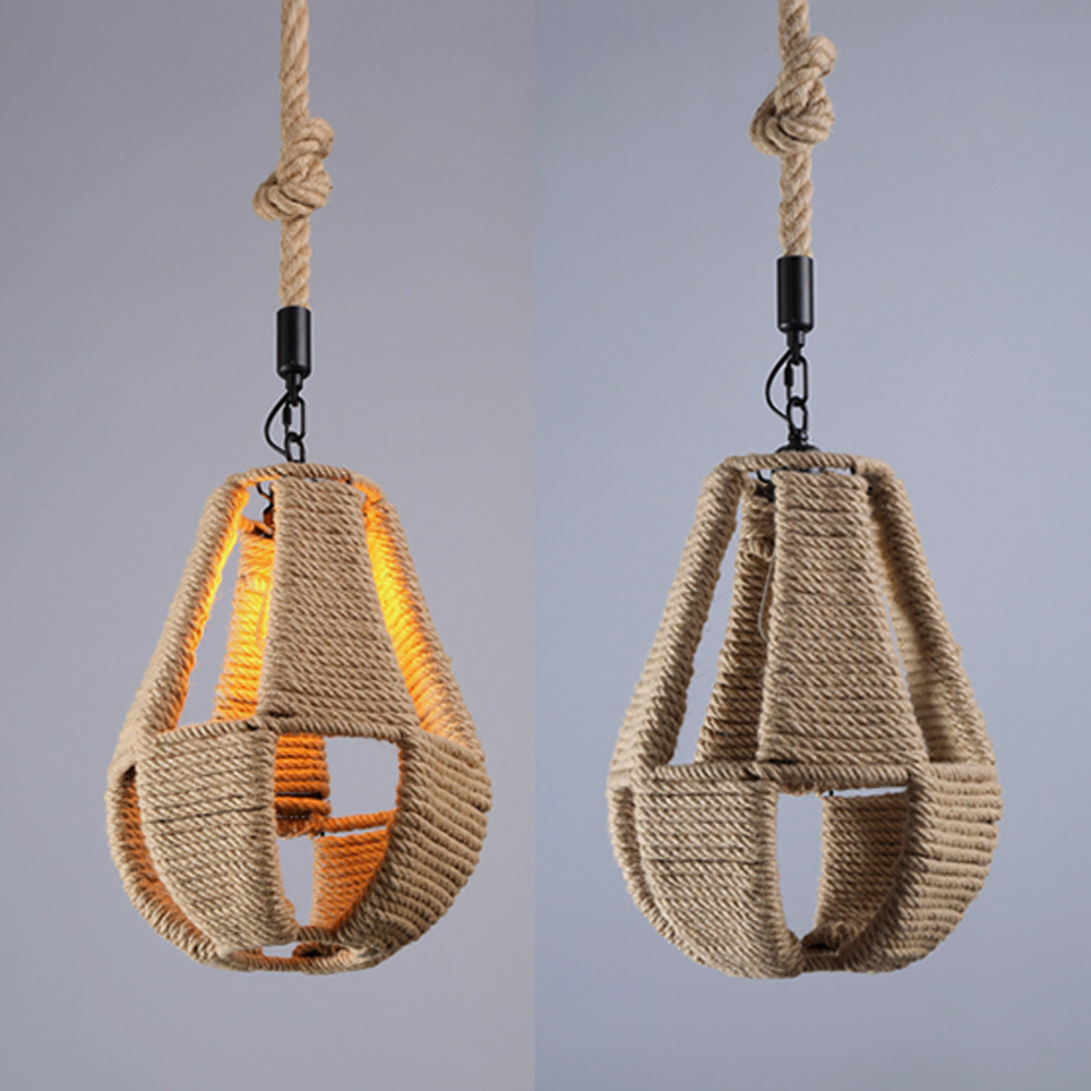 A07 Retro pendant lights Hemp Rope lamps Country vintage Ceiling Lamp Country Style Lighting Fixtures for Hallway Lobby america country hemp rope pendant lights fixtures in style loft vintage industrial lighting handing lamp pendente
