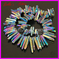 Rainbow Titanium Quartz Sticks Point Spike Drilled Briolette Beads Raw Crystal Quartz Top Drilled Electroplated Druzy Pendants