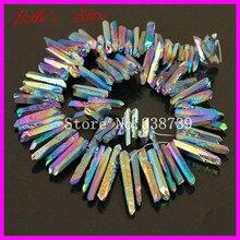 Arco iris de Titanio Cuarzo Sticks Punto Pico Perforados Briolette Granos de Cristal De Cuarzo en Bruto Superior Perforado Galvanizado Colgantes Druzy