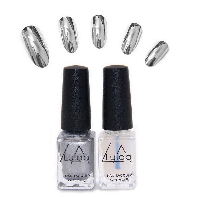 Metallic Nail Varnish Sets: 2pc/set Varnish Base Coat Metallic Nails Art DIY Manicure