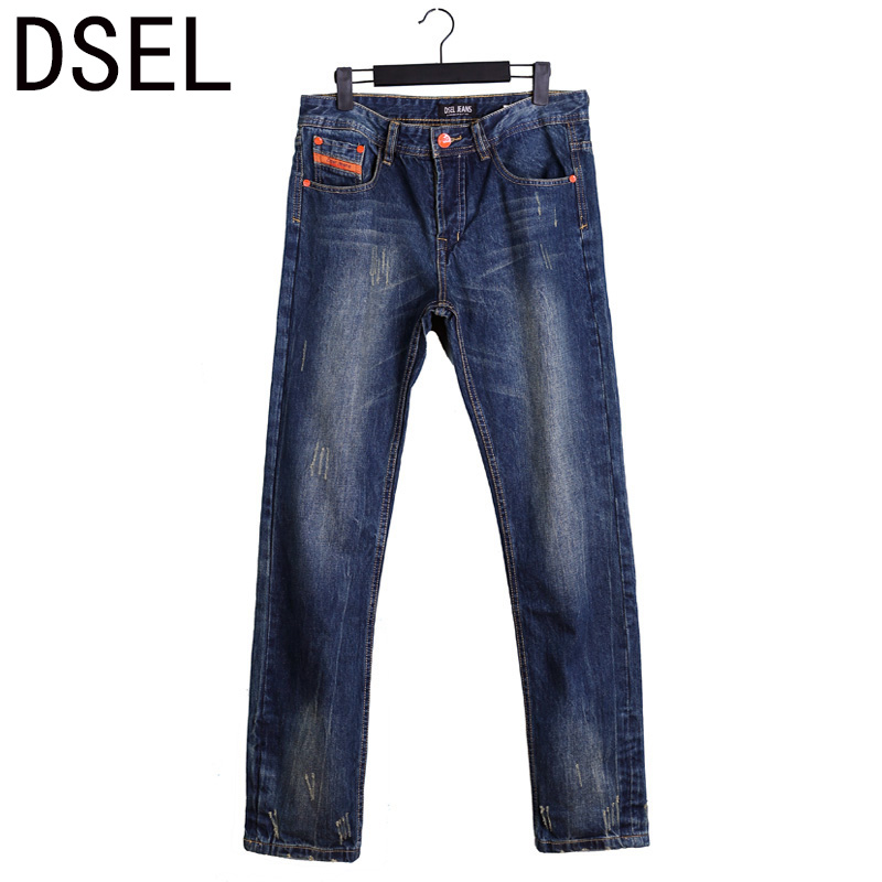 Newly DSEL Brand Jeans Men Dark Color Distressed Pants Designer Men Jeans High Quality Ripped Jeans Orange Stripes Men's Jeans генераторы
