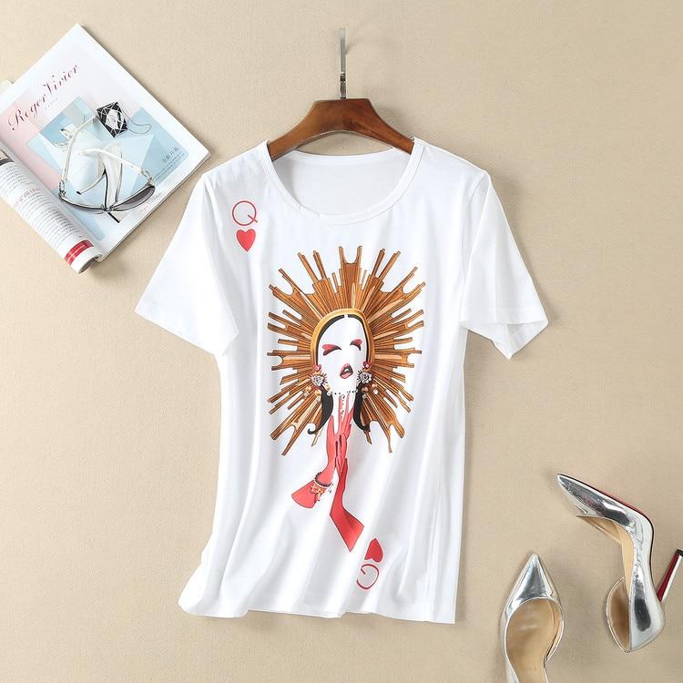 Imprimé Femmes Designer B016 shirt Haute T Chemise O T Coton Piste Blanc 2018 Mode Chemises cou Beige Marque De Bande Dessinée 3A45LqRj