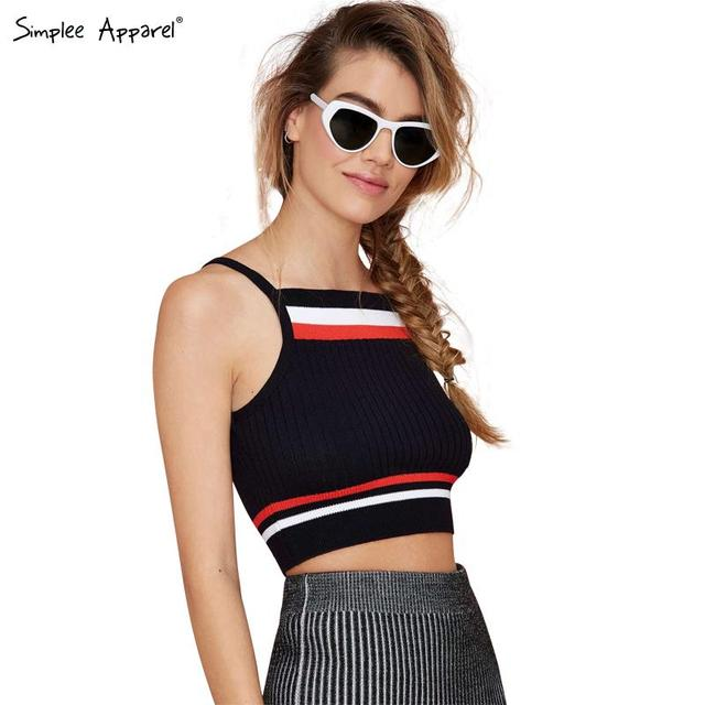 f9ca86f6a4 Simplee Apparel European style women tank top Striped knitted camisole Sexy  sport bustier crop top 90 s girl elastic cotton tops