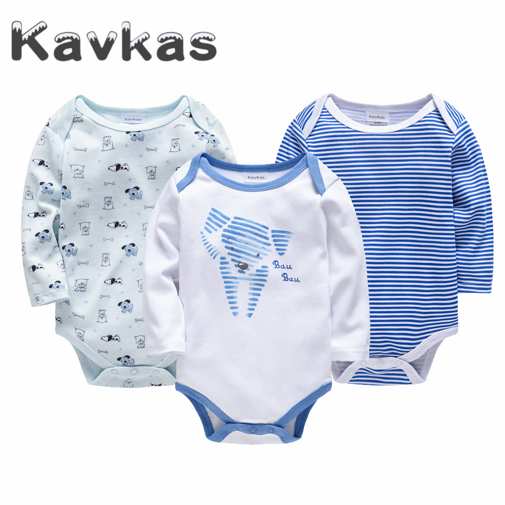 2019 Brand 3 pcs/lot Baby Clothes Long Sleeve 0-Neck Cotton Spring Autumn 0-24 months Baby   Rompers   Newborn Boys Girls Clothing