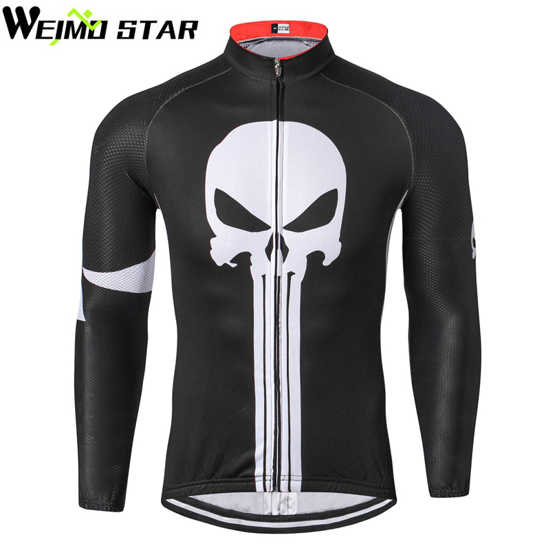 Men's Long Sleeve Cycling Jersey Biking Full Zip Polyester Spring Autumn Black Punisher Outdoor Sports Ropa Ciclismo Tops 2017 spring summer cycling jersey women long sleeve mountain biking jerseys shirt outdoor sports clothing ropa ciclismo santic