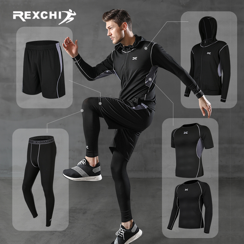 REXCHI 5 Pcs/Set Men's Tracksuit Gym Fitness Compression Sports Suit Clothes Running