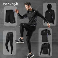 REXCHI 5 teile/satz Männer der Trainingsanzug Gym Fitness Compression Sport Anzug Kleidung Laufen Jogging Sport Tragen Übung Workout Strumpfhosen