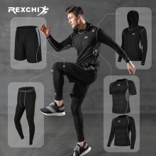 REXCHI 5 pièces/ensemble survêtement pour hommes salle de Sport Compression Sport costume vêtements de course Jogging vêtements de Sport exercice d'entraînement collants(China)