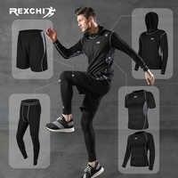 Rexchi 5 pçs/set treino masculino ginásio de fitness compressão esportes terno roupas correndo jogging esporte wear exercício workout collants