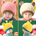 Lovely Cute Real Rabbit Fur Knitted Warm Baby Hats and Caps Kids Boy Girl Crochet Beanie Hat Winter Cap For Children Baby Kids