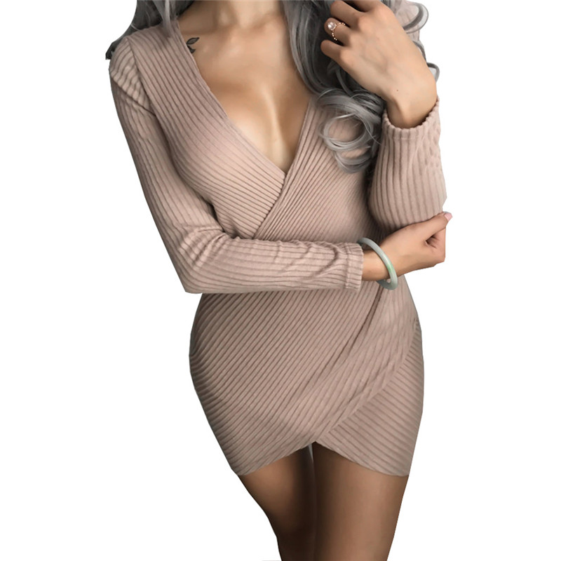 Sexy Cross V Neck Wrap Knitted Winter Sweater Dress Women 2017 Casual Long Sleeve Vintage Ladies Bodycon Party Dresses Female forefair fashion slim knitted party dresses women clothing 2018 spring long sleeve sexy criss cross v neck bodycon dress vestido