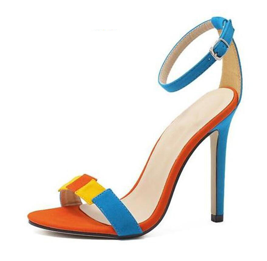 The bride wedding shoe rainbow colored suede one word with contracted fine with high heel sandals for women's shoes fashion 2017 fashion flowers diamond pendant bride shoes high with fine with photography single shoes for women s shoes wedding shoes