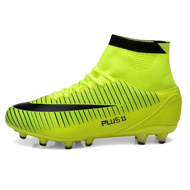 Leoci Hot Sale Mens Chuteiras de Futebol Tamanho Grande Alta Tornozelo  Futebol sapatos Picos de Longa 0855eed18070f