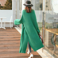 Thicken Fashion Autumn Winter Solid Color Open Stitch Knitted Sweater Loose V Neck Cardigans Casual Knitwear