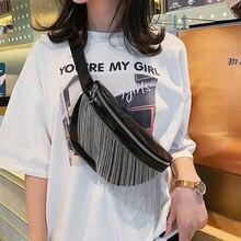 Fashion Wild Women's Waist Bag Bag For The Belt Tassel Drill PU leather Fanny Pack Bananka  bum bag Women Belly Band Belt Bag