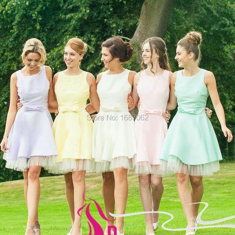 Pastel Bridesmaid Dress Different Aqua Short