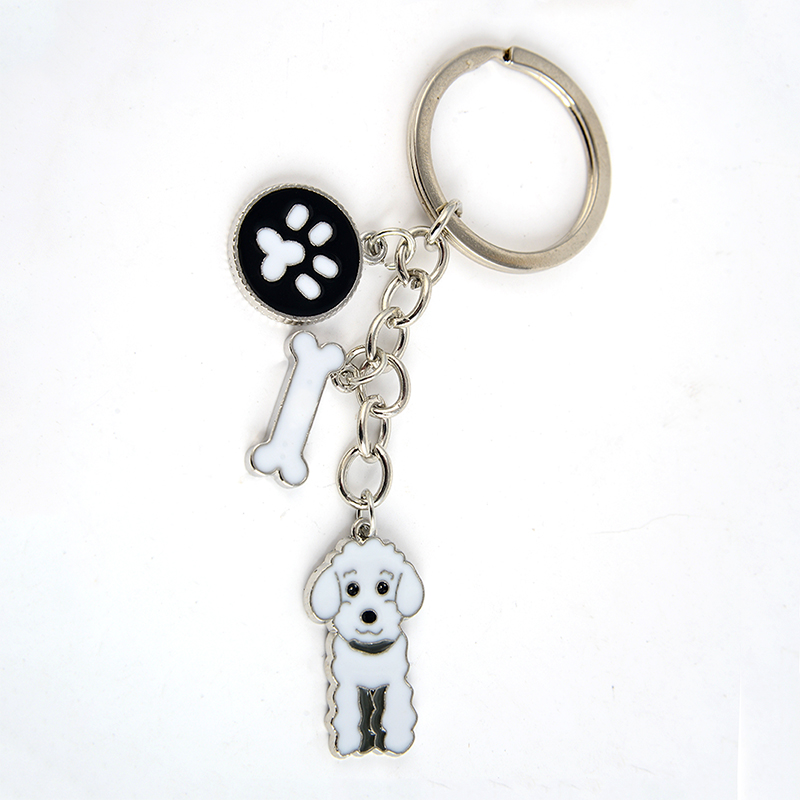 Poodle Teddy Dog αλυσίδες μπρελόκ για τσάντα αυτοκινήτου ασημί χρώμα κράμα μέταλλο κατοικίδιο ζώο σκύλος γοητεία κρεμαστό κόσμημα άνδρες γυναίκες κορίτσια μπρελόκ κλειδιά δαχτυλίδια δώρο