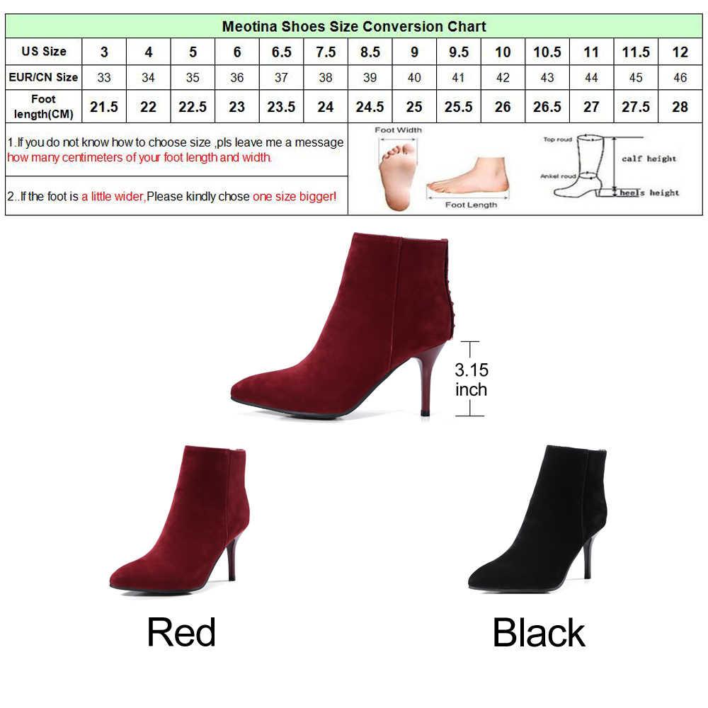 Meotina/2018 г. ботильоны женская зимняя обувь на высоком каблуке с острым носком полусапожки на молнии с заклепками черные, красные, большие размеры 33-43