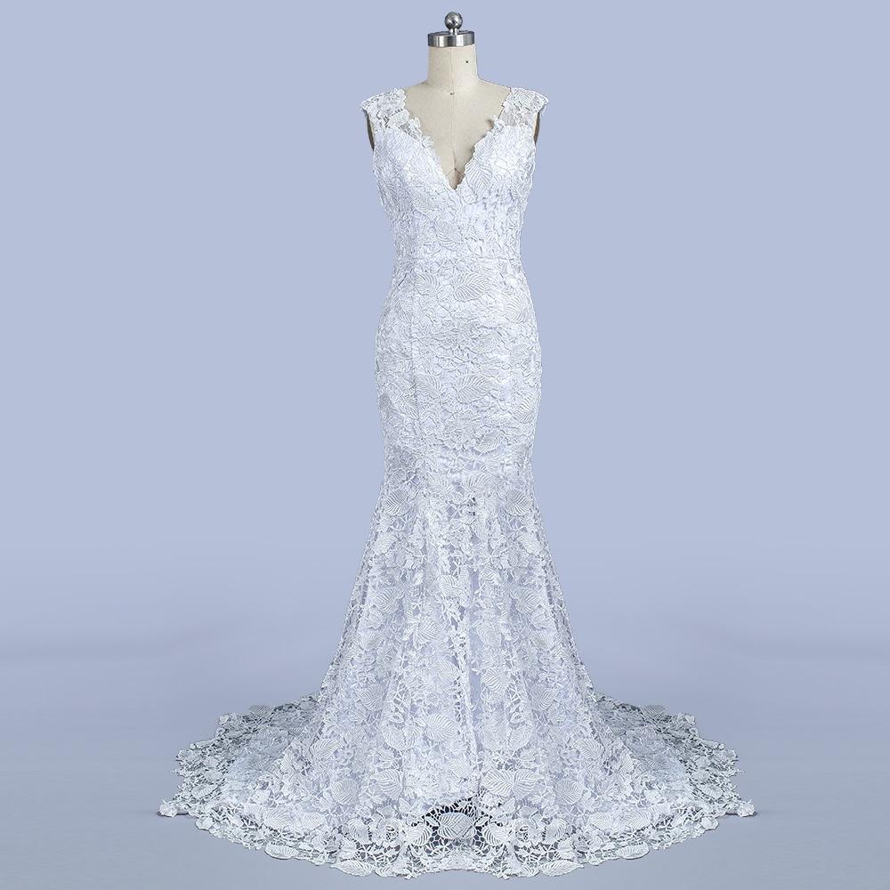 Mode Kant Zeemeermin Trouwjurken Mouwloze V-hals Bruids Feestjurk - Trouwjurken - Foto 2