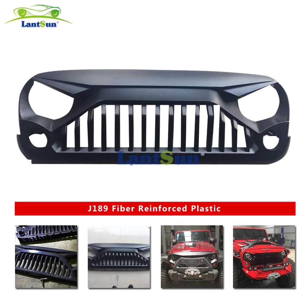 1 set J189 black front angry ABS plastic grill for jeep wrangler jk 2007+ auto products Lantsun j184 lantsun pair of foot pegs for 2007 2016 jeep wrangler jk 2dr 4dr