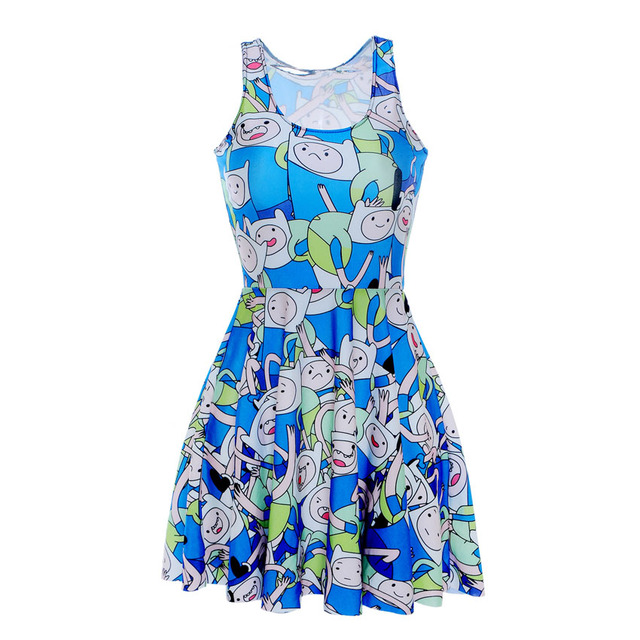 096f80e8c2928 US $11.04 8% OFF|Fashion 1090 Sexy Girl Women Summer Adventure Time blue  finn 3D Prints Reversible Sleeveless Skater Pleated Dress-in Dresses from  ...