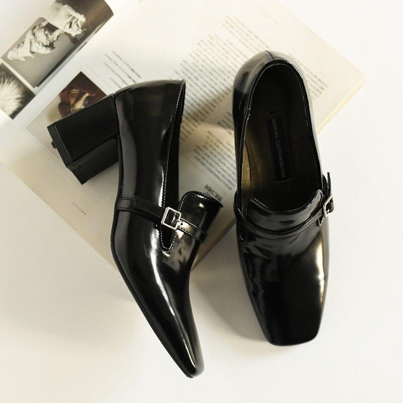 ISNOM wysokie obcasy pompy kobiety plac Toe obuwie krowa skórzane buty biurowe, żeński, moda klamra buty kobieta wiosna 2019 nowy w Buty damskie na słupku od Buty na  Grupa 3