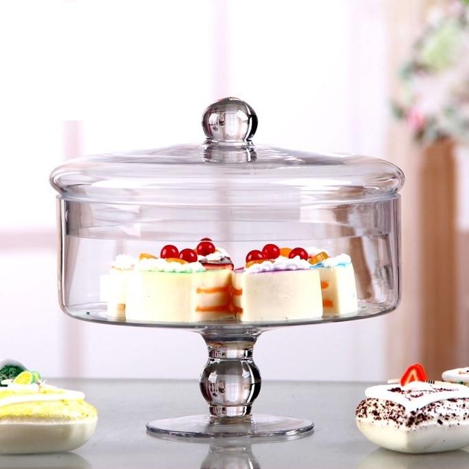 Vintage Lidded Glass Cake Stand Compote Decorative Snack Storage Jar Sweet Glassware Tableware Centerpiece Receptacle Handicraft
