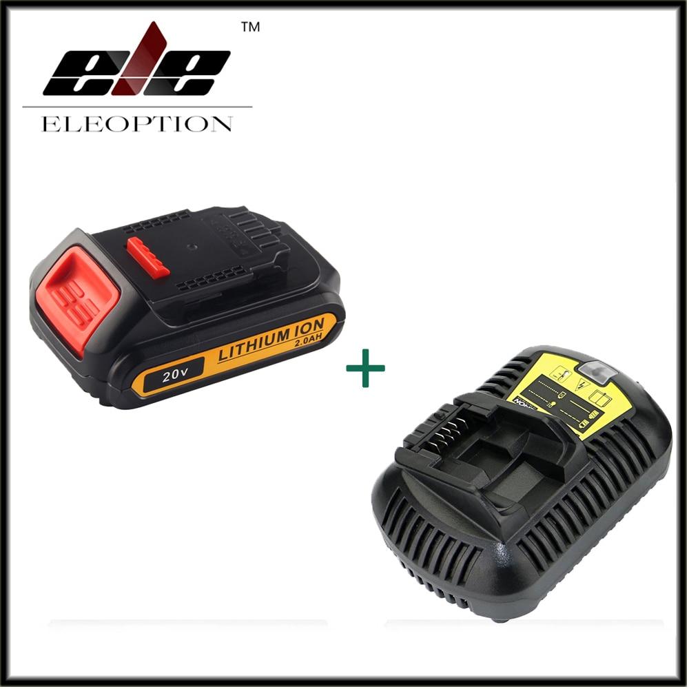Eleoption 20V 2000mAh Li-ion Rechargeable Battery For DEWALT DCB203 DCB181 DCB180 DCB200 DCB201 DCB201-2 + Charger 5pcs 5000mah power tool rechargeable li ion battery replacement for dewalt 18v dcb200 dcb201 dcb203 dcb204 dcb180 dcb181 dcb182