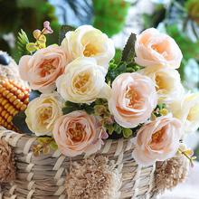 Sztuczne róże kwiaty różowe małe mini jedwab sztuczne sztuczne kwiaty na ślub strona główna dekoracja bukiet biała róża tanie tanio Jedwabiu Ślub XIDA Bukiet kwiatów A140 White Green Blue Pink Purple 30cm 11 82in leaves 4 cm 1 57 in 5 Branch 1 pcs