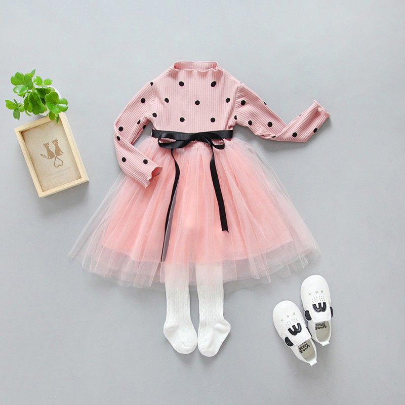 Baby Girls Dresses Princess Polk Dot Dress Baby Party Pageant Long Sleeve Mini Vestidos Lace Dress