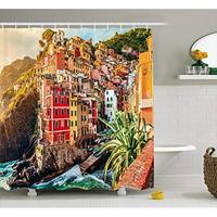 Vixm Italy Shower Curtain Riomaggiore at Sunset Cinque Terre National Park Cliff and Coast Scenic Panorama Fabric Bath Curtains