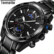 Temeite Top Brand Luxury Quartz Watch Men Black Stainless Steel Quartz Mens Watches Japanese Movement Waterproof Wristwatch Male цена 2017