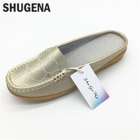 2017 New Summer Genuine Leather Women Flats Shoes Female Casual Flat Women Loafers Shoes Slips Leather
