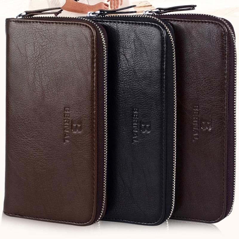 Business fashion Men Wallet leather Long zipper Wallets ...