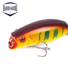 Купить с кэшбэком High Quality Popper Fishing Lures 5.5cm 10g 3D Eyes Bait Crankbait Wobblers Topwate Isca Artificial Japan Pesca Fish Tackle