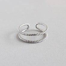 HFYK 2019 Retro Black Silver Ring For Women 925 Sterling Twist Vintage Jewelry Bague Femme joyas de plata