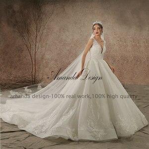 Image 2 - Amanda Design High end Customized Low Cut Deep V Sexy Luxury Backless Wedding Dress