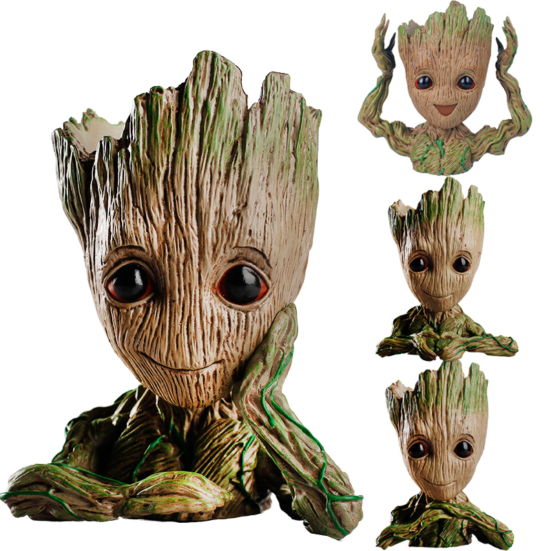 Cute Guardians of the Galaxy Tree man Flowerpot Toys Baby Tree man Action Figures Pot Toys Pen Holder Guardian Galaxy Treeman цена