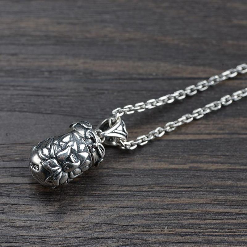 Gerçek 925 Ayar Gümüş Buda Lockets Yüzer Mantra Lotus Kolye - Kostüm mücevherat - Fotoğraf 3