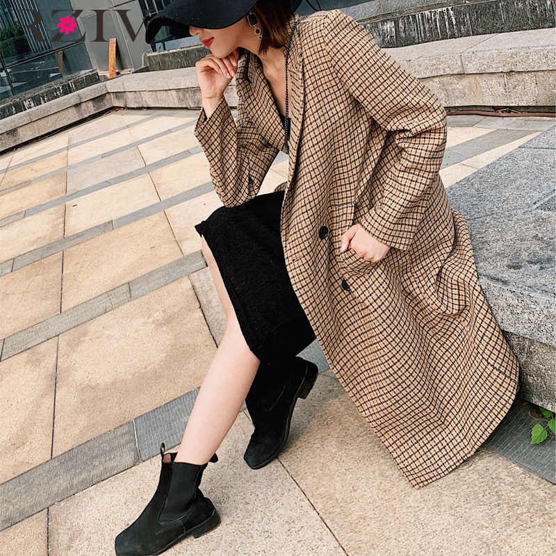 RZIV autumn and winter coat female casual plaid long section of double-breasted coat