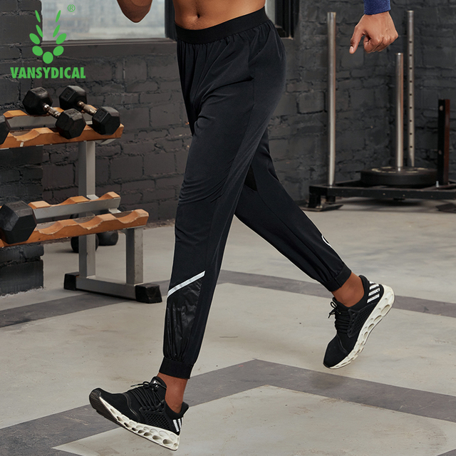 Vansydical Mens Reflective Workout Pants Running Leggings Loose Breathable Basketball Training Pants Fitness Jogger Sweatpants 2