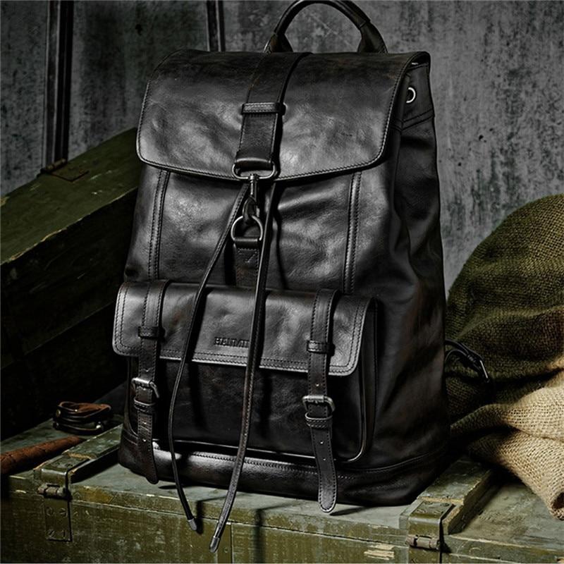 Di marca del cuoio genuino grandi zaini degli uomini di multi tasca zainetto collegio sacchetto dei bagagli di viaggio zainetto epoca fatti a mano bolsa - 5
