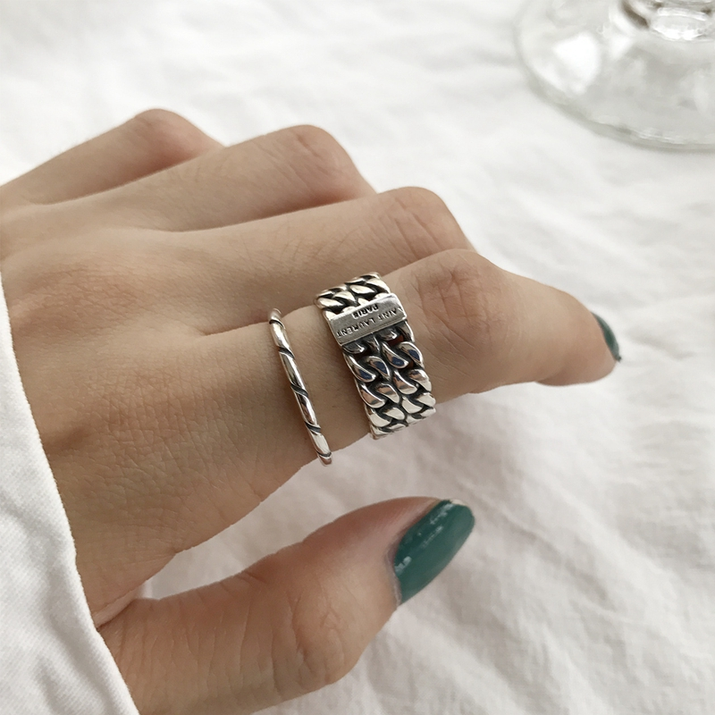 LouLeur 925 Sterling Silver Vintage Double Layer Chain Rings Silver Texture Industrial Wind Open Female Rings 925 Silver Jewelry