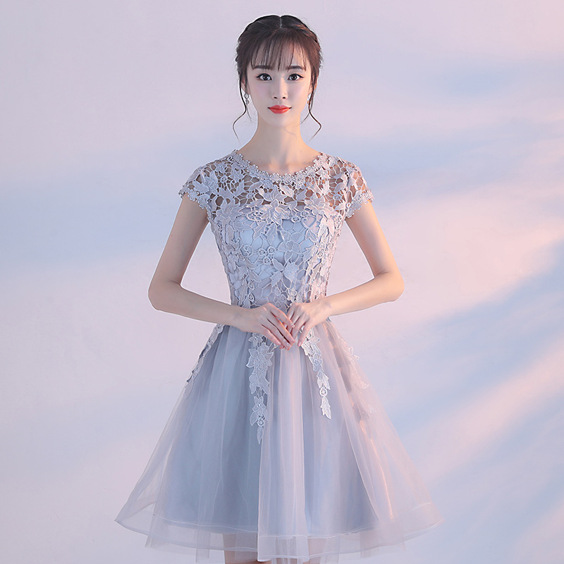 Robe Demoiselle D'honneur New Lace Short   Bridesmaid     Dress   Under 50 A Line Appliques Prom Gown Wedding Party Formal   Dresses