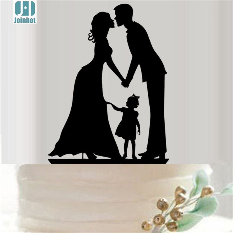 wedding cake topper mom dad baby joinhot famliy child hollow acrylic cake 26356